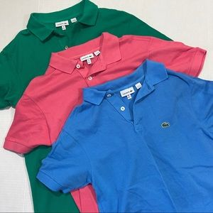 Lacoste Pique polo shirts lot of 3